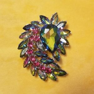 Pink and Green Cluster Brooch/Pendant
